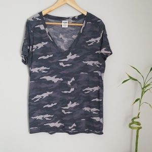 PINK Victoria's Secret gray camo shirt
